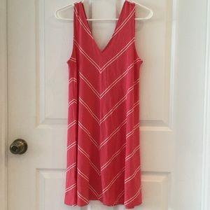 LOFT Coral V- neck Swing Dress Size XS